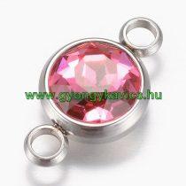 Ezüst Színű Nemesacél Rózsaszín Strasszos Karkötő Ékszer Dísz Közdarab Köztes 17,5x10x6,5mm