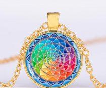 Arany Színű 7 Csakra Meditáció Mandala (11) Medál Lánccal Nyaklánc 27,5mm