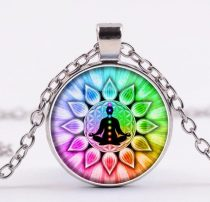Ezüst Színű 7 Csakra Mandala Meditáció (12) Medál Lánccal Nyaklánc 27,5mm