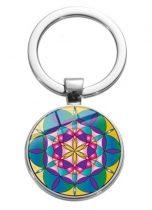 Ezüst Színű Mandala (12) Kulcstartó Karika 27,5x60mm