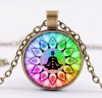 Bronz Színű 7 Csakra Meditáció Mandala (13) Medál Lánccal Nyaklánc 27,5mm