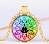 Arany Színű 7 Csakra Meditáció Mandala (14) Medál Lánccal Nyaklánc 27,5mm