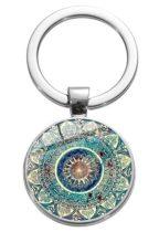 Ezüst Színű Mandala (14) Kulcstartó Karika 27,5x60mm