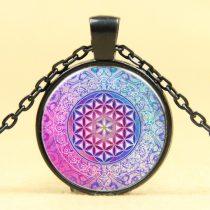 Fekete Színű Mandala Jóga (74) Medál Lánccal Nyaklánc 27,5mm