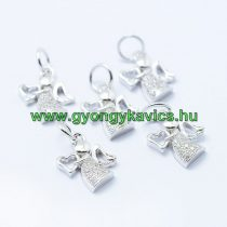Ezüst Színű Cirkón Cirkónia Strassz Angyal Szív Medál 12x9,5mm