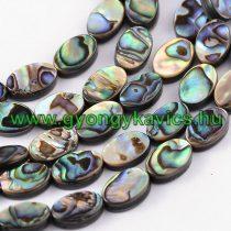 Abalone Paua Kagyló Gyöngy Gyöngyfüzér 12x8x3mm
