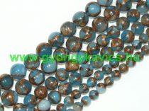 Akvamarin Kék Kvarc Aranyporral Ásványgyöngy Gyöngyfüzér 10mm