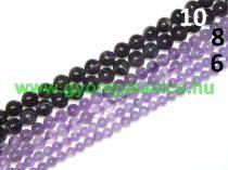 Ametiszt (sötét) Ásványgyöngy Gyöngyfüzér 10mm