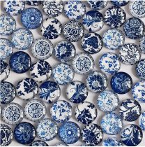 Kék Antik Porcelán Mintás Üveg Kaboson 10mm