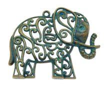 Antikolt Bronz Színű Elefánt Nyaklánc Karkötő Ékszer Dísz Medál 61x49mm