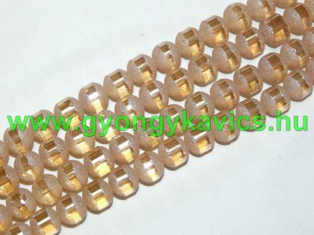 Arany Csíkos Üveggyöngy 8-9mm
