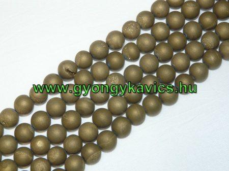 Arany Druzy Achát Ásványgyöngy Gyöngyfüzér 10mm