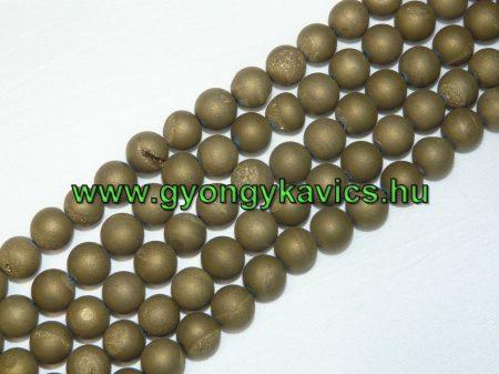 Arany Druzy Achát Ásványgyöngy 10mm