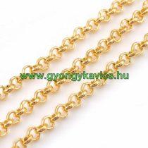 Arany Színű (2) Nyaklánc Ékszer Lánc 2,5x1mm 1m