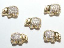 Arany Színű Fehér Cirkón Cirkónia Strasszos Elefánt Nyaklánc Karkötő Ékszer Dísz Közdarab Köztes 8,5x13x5mm