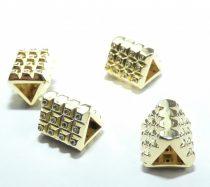 Arany Színű Fehér Cirkón Cirkónia Strasszos Háromszög Nyaklánc Karkötő Ékszer Dísz Közdarab Köztes Charm 8,5x10,5x9,5mm