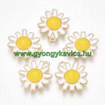Arany Színű Fehér Sárga Tűzzománc Virág Medál 17x14mm