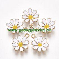 Arany Színű Fehér Sárga Tűzzománc Virág Medál 19x15mm