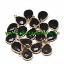 Arany Fazettált Fekete Achát Ásvány Medál 24x15x6mm