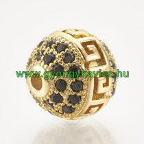 Arany Színű Görög Mintás Fekete Cirkón Cirkónia Strasszos Közdarab Köztes 10mm