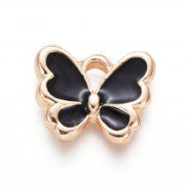 Arany Színű Fekete Tűzzománc Lepke Pillangó Medál 10,5x12,5mm