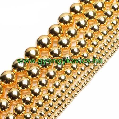 Arany Hematit Ásványgyöngy  10mm