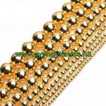 Arany Hematit Ásványgyöngy  8mm
