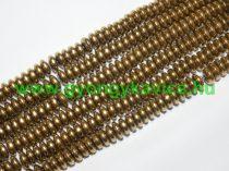 Arany Hematit Korong Ásványgyöngy Gyöngyfüzér 6x3mm