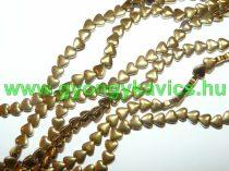 Arany Hematit Szív Ásványgyöngy 8x8x3mm