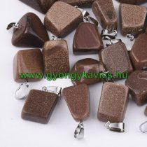Arany Homokkő Medál Ezüst Színű Akasztóval 15-35x10-20x5-15mm