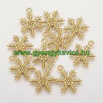 Arany Színű Hópehely Medál Karácsonyfa Dísz 26x19mm