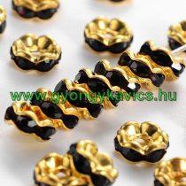 Arany Színű Hullámos Nyaklánc Karkötő Ékszer Dísz Köztes Fekete Színű Strassz Kövekkel 6mm