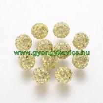 Arany Színű Nyaklánc Karkötő Ékszer Dísz Polymer Polimer Shamballa Strassz Kövekkel 10mm