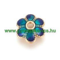 Arany Kék Színű Tűzzománc Virág Nyaklánc Karkötő Ékszer Dísz Gyöngykupak Köztes 7,5mm