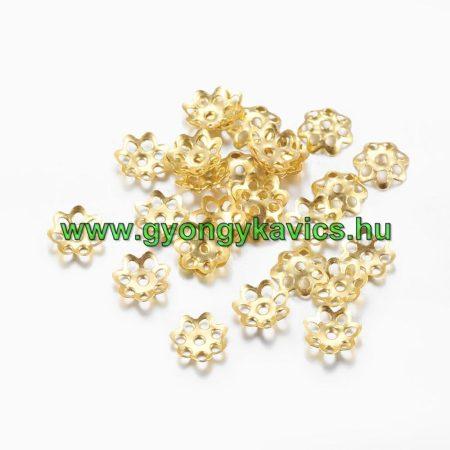 Arany Színű Virág Gyöngykupak Nyaklánc Karkötő Ékszer Dísz Közdarab 6mm