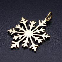 Arany Színű Nemesacél Hópehely Medál Karácsonyfa Dísz 26,5x19,5mm