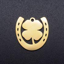 Arany Színű Nemesacél Lóhere Patkó Medál 17x16,5mm