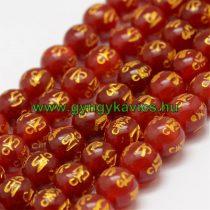Om Mani Padme Hum Mantra Vörös Arany Karneol Achát Ásványgyöngy 10mm