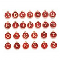 Arany Piros Színű Tűzzománc ABC Betű Kerek Medál 14x12mm (26db)
