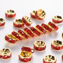 Arany Színű Nyaklánc Karkötő Ékszer Dísz Köztes Piros Színű Strassz Kövekkel 8mm
