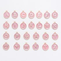 Arany Rózsaszín Színű Tűzzománc ABC Betű Kerek Medál 14x12mm (26db)