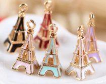Arany Világos Rózsaszín Színű Tűzzománc Eiffel Torony Medál Köztes 23x10mm