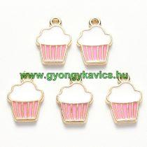 Arany Rózsaszín Fehér Színű Tűzzománc Muffin Sütemény Medál 16x11mm