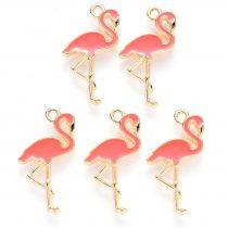Arany Színű Sötét Rózsaszín Tűzzománc Flamingó Medál 26x14mm