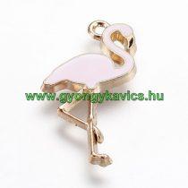 Arany Színű Rózsaszín Tűzzománc Flamingó Medál 26x14mm