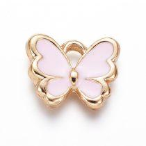 Arany Színű Rózsaszín Tűzzománc Lepke Pillangó Medál 10,5x12,5mm