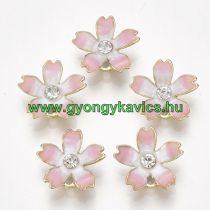 Arany Színű Rózsaszín Tűzzománc Virág Medál Strassz Kővel 14x15mm