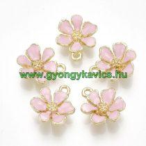 Arany Színű Rózsaszín Tűzzománc Virág Medál 15x12,5mm