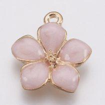 Arany Színű Rózsaszín Tűzzománc Virág Medál 16,5x14,5mm