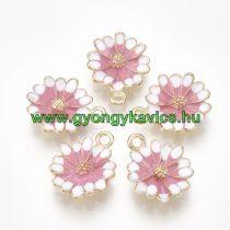 Arany Színű Rózsaszín Tűzzománc Virág Medál 15x12mm